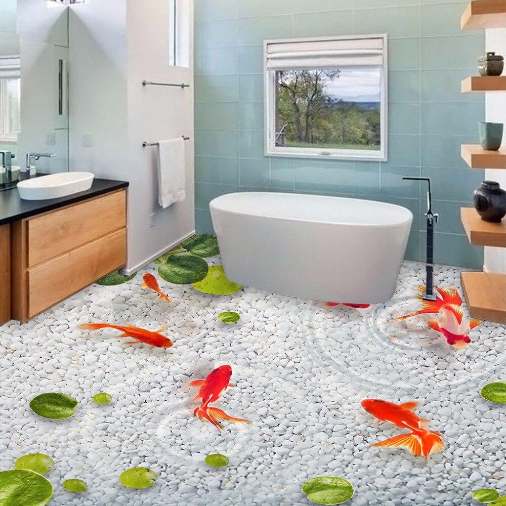 Popular wallpaper fish buy cheap wallpaper fish lots from for Bathroom 3d wallpaper