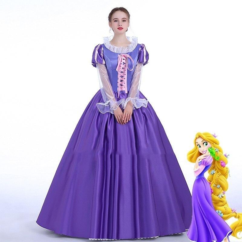 Raiponce reine Costume emmêlé princesse robe seulement Cosplay adulte Halloween carnaval fête fantaisie fille mariage violet Long