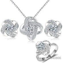Свадебные Ювелирные наборы, 925 пробы, Серебряный Кристалл, крест, цветок клевера, ожерелья для женщин, свадебное украшение бижутерия