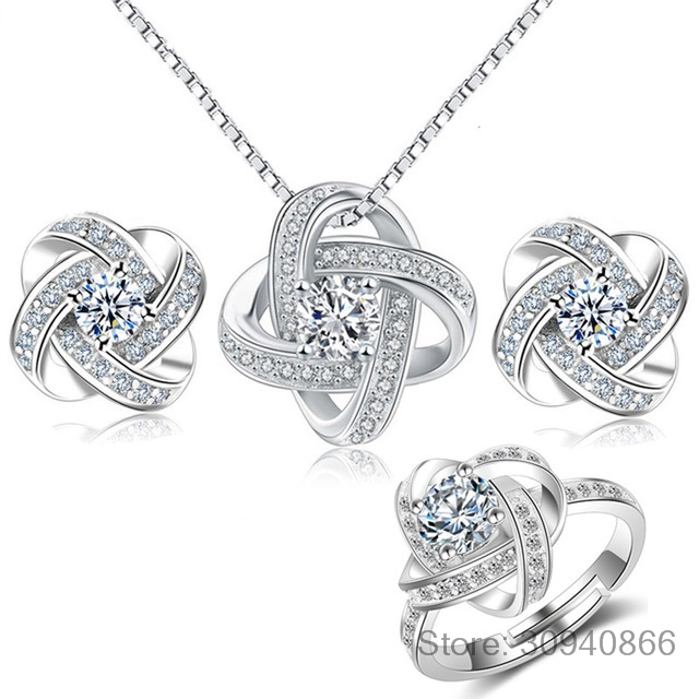 2019 Bridal Jewelry Sets 925 Sterling Silver Crystal Cross Clover Flower Necklaces For Women Wedding Jewelry Bijoux