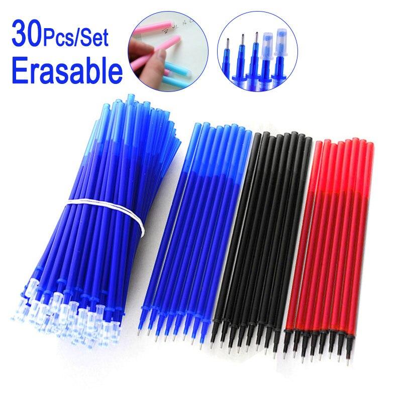 DELVTCH 30Pcs/Set 0.5MM Gel Pen Erasable Refill Rod Magic Erasable Pen Accessory Blue Black Ink Stationery Writing Tools Gifts