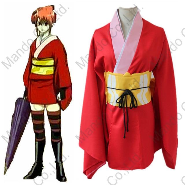 Anime GINTAMA Kagura cosplay costume girls japanese kimono and belt women  halloween cosplay party outfit 7pcs