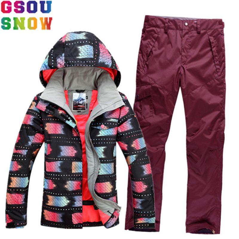 GSOU SNOW Women Ski Suit Ski Jacket Pants Winter Outdoor Mountain Skiing Suit Cheap Snowboard Sets Ladies Warmth Sport Clothing gsou snow ski suit women skiing jacket snowboard pants winter waterproof outdoor cheap ski suit ladies sport clothing 2017 coat