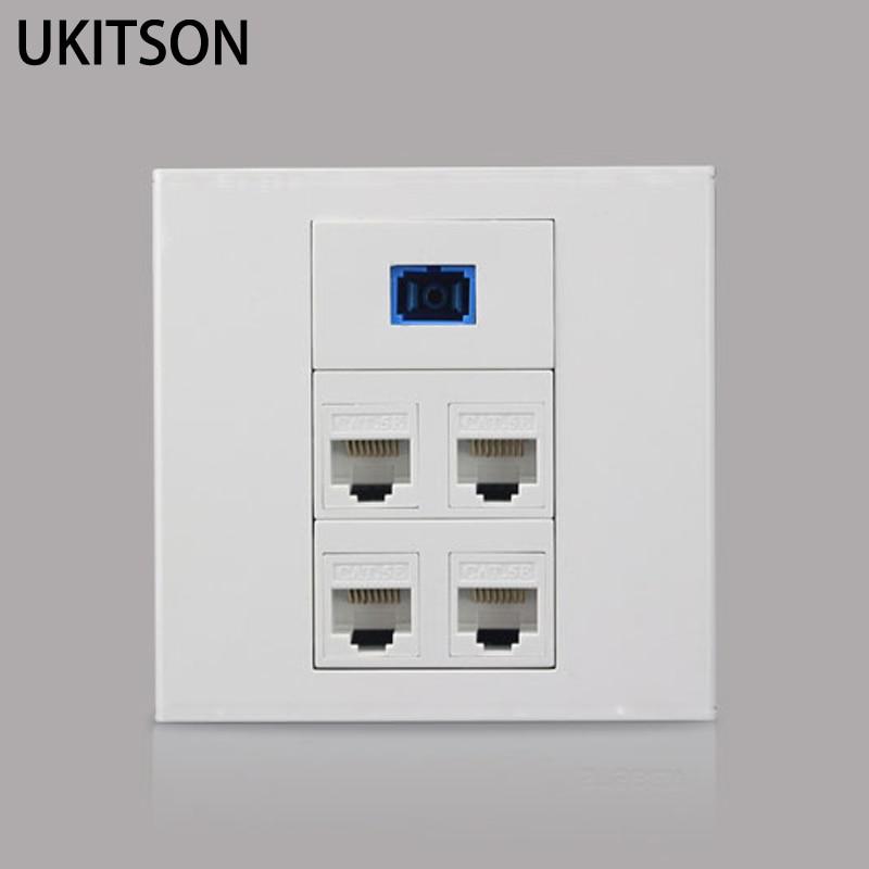 цена на Fiber Optic SC Socket With Dual CAT5E RJ45 Ethernet Module Wall Panel White Color
