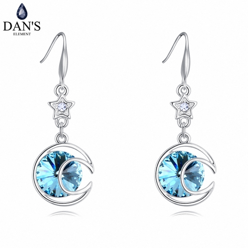 DANS 4 Colors Real Austrian crystals Stud earrings for women Earrings s New Sale Hot Round 127999