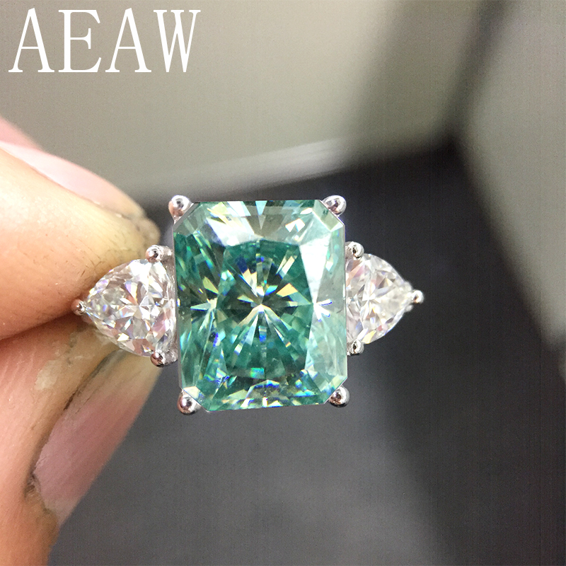 AEAW 925 Silver Green Radiant Cut Moissanite Engagement Ring 4ct 8x10mm Center with Trillion Anniversary Ring