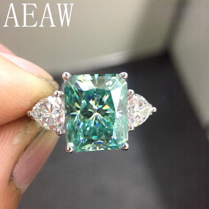 AEAW 925 argent vert radieux coupe Moissanite bague de fiançailles 4ct 8x10mm Center avec Trillion anneau anniversaire pour les femmes