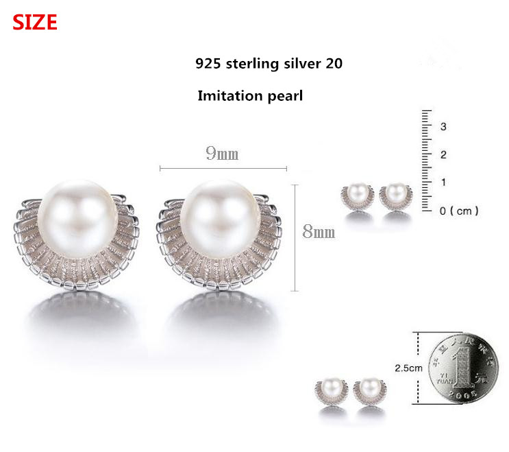 100 925 sterling silver high quality imitation pearl shell design ladies stud earrings jewelry wholesale Anti allergy gift in Stud Earrings from Jewelry Accessories