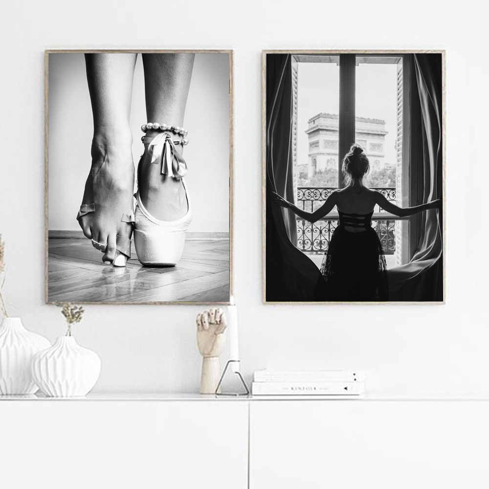 Black and White Window Girl Ballerina Posters Print Ballet Dancer Canvas Painting Wall Art Picture For living Room Nordic Prints