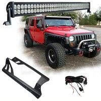 Set of 52 Inch LED Light Bar Offroad Light 300W with JK Windshield Mounting Bracket Kit For Jeep Wrangler JK 2007 2015