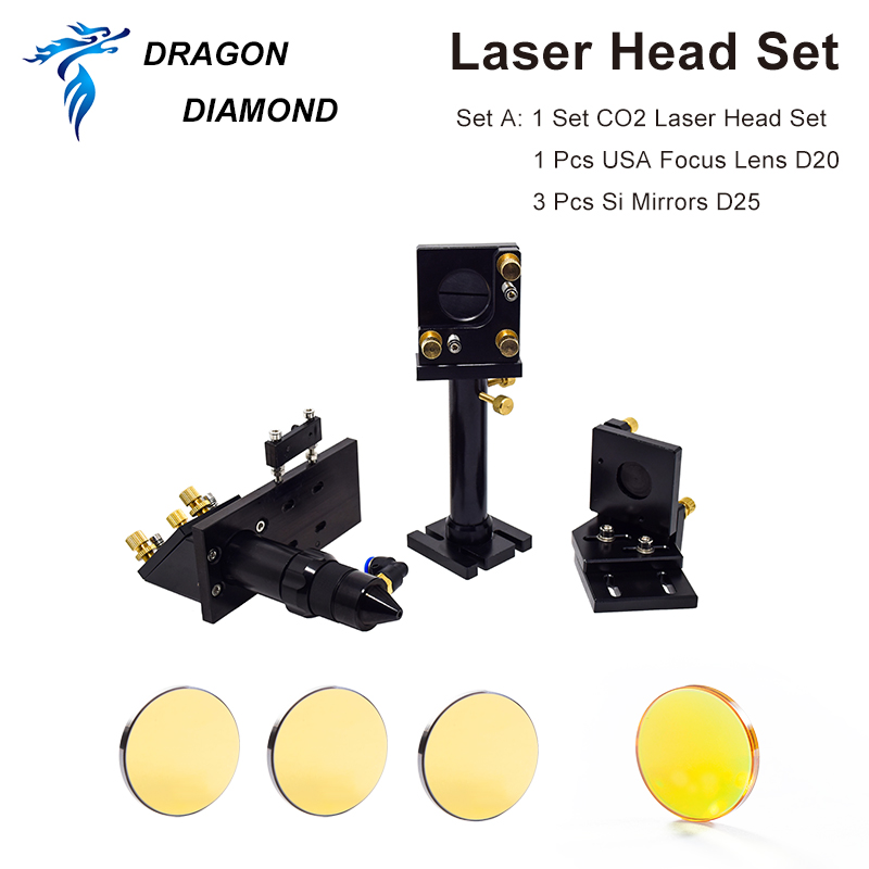 DRAGON DIAMOND CO2 Laser Head Set Mirror and Focus Lens Integrative Mount Holder for Laser Engraving