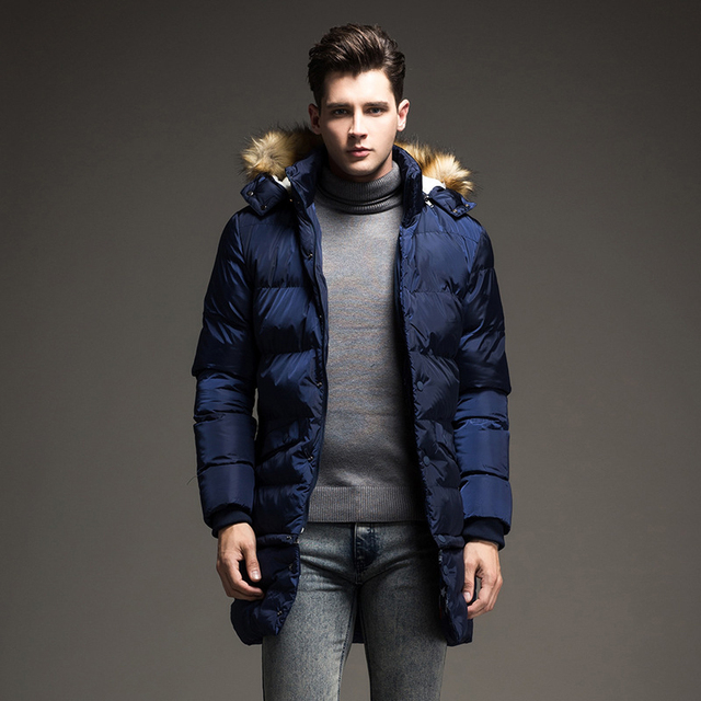 2017 Envmenst Brand Design New Long Winter Down Jacket Men Fur ...