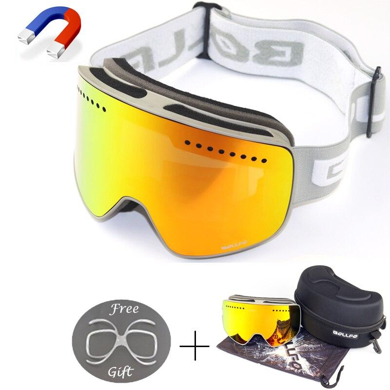 BOLLFO marque Magnétique Ski Lunettes Avec Le Cas Rapide-changement Lentille UV400 Anti-brouillard Ski Lunettes homme femmes Adulte motoneige lunettes