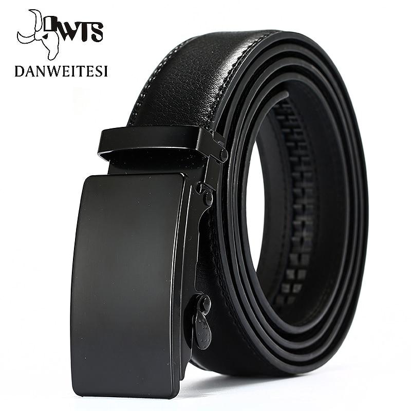[DWTS]Genuine Leather Belts For Men Automatic Male Belts Cummerbunds Leather Belt Men dropshipping Black Belts 105cm-125cm