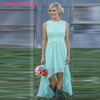 Great Mint Green Bridesmaid Dresses High Low Custom Size Boat Neck Backless Chiffon Party Gown Hot