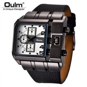 Oulm مربع الساعات الرياضية الرجال أعلى العلامة التجارية الفاخرة كبيرة الكوارتز ساعة اليد واسعة بو الجلود حزام الذكور ووتش relogio masculino
