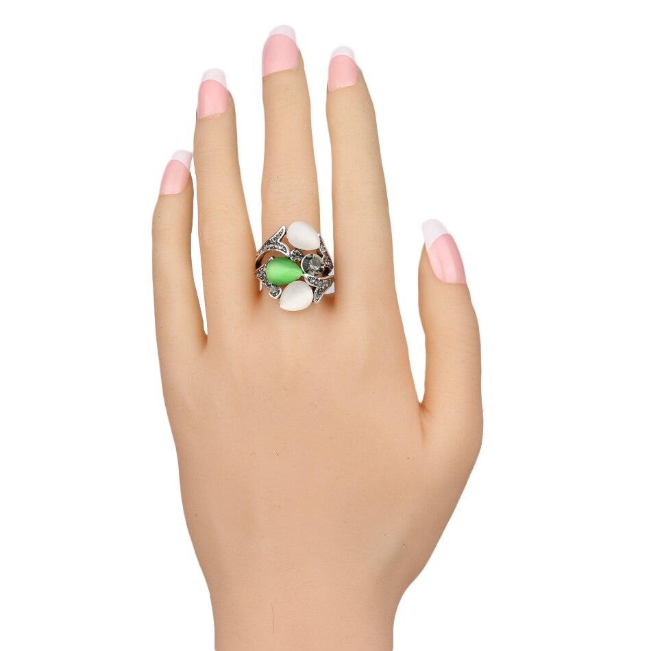 Kinel Vintage Kristall Anel Schmuck Opale Eheringe für Frauen Silber - Modeschmuck - Foto 6