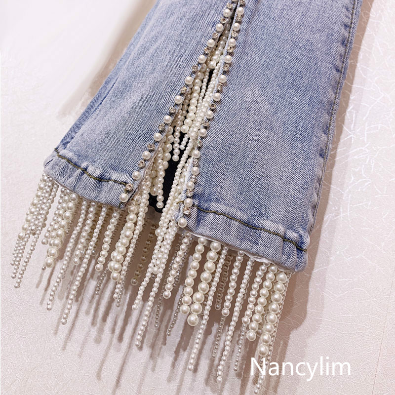 Nail-pearl Fringed High-waist Jeans Trousers Lady's Water Drill Pearl Light-colored Slim Fashion Women Club Jeans Pants Nancylim