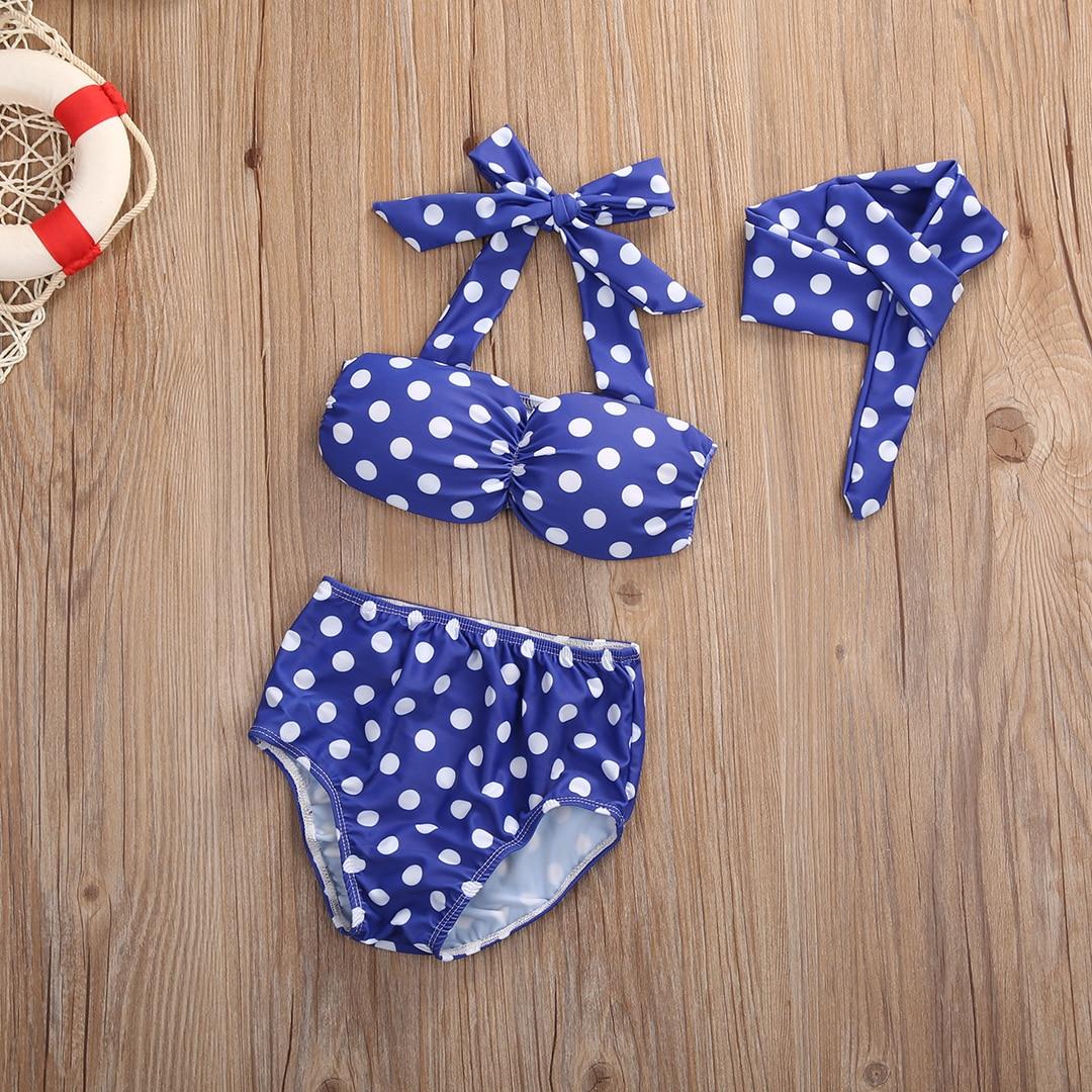 Infant Baby Girls Clothes Summer Cute Sleeveless Polka Dot Halter Bow Bikini+Bottom+Headband Suit Swimwear Bathing Swimming Set cute dog design sleeveless holloow out swimwear for girls