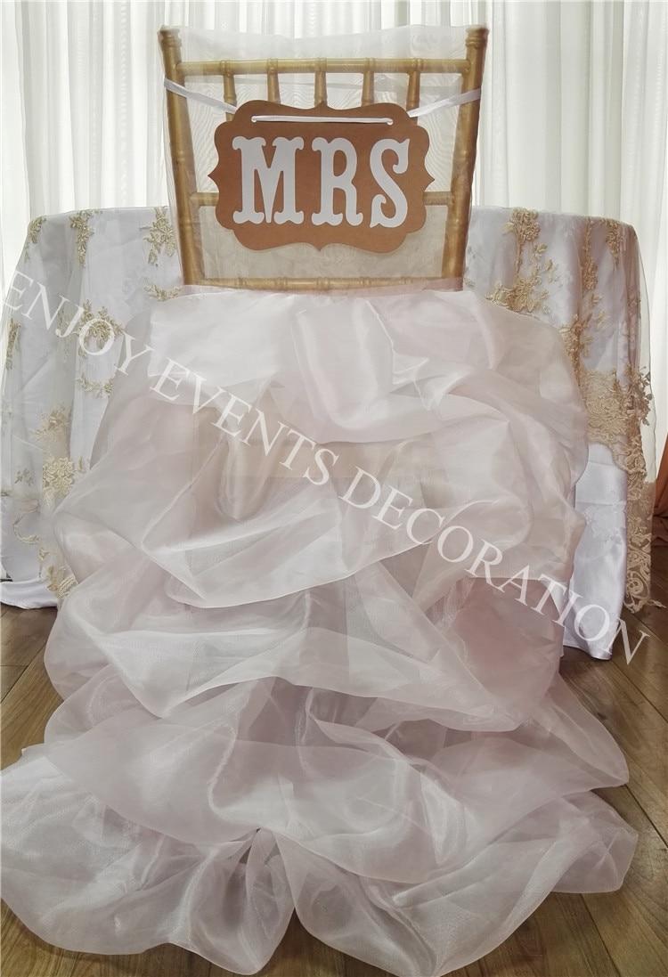 Chair Back Covers Wedding Wooden Rocking Mission Style 50pcs Yhc 190 Fancy Elegant Organza Ruffled Polyester Banquet Chiavari
