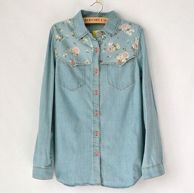 2016 spring Autumn High quality Women  long-sleeved denim blue floral Print blouse shirts Women Jeans shirt Jacket