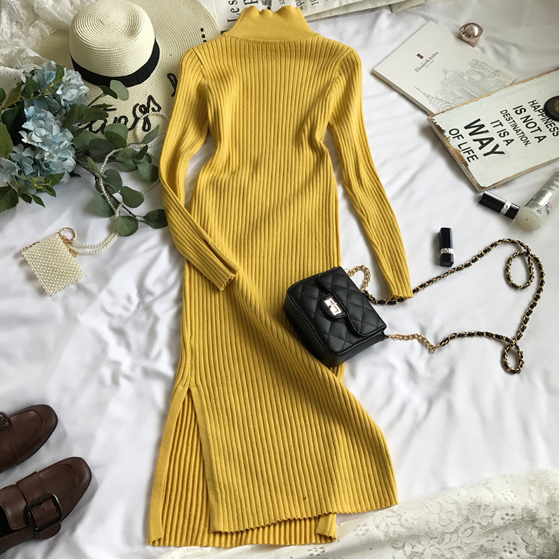 2019 New Spring Autumn Long Turtleneck Sweater Dress Femme Large Size Solid color Split Winter Knit Dress aa943