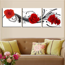 Direct factory price ! Large size 3 piece black white and red roese picture modern wall art painting print on canvas
