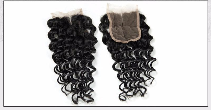 Brazilian Virgin Hair Deep Wave Lace Closure Free3middle Part 4X4 Size Lace Brazilian Deep Weaving closure  Alimice Hairstyle (9)