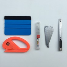 Ferramenta de filme envoltório de vinil para carro, 4 pçs/lote, raspador de feltro, cortador, faca, estilização do carro, adesivo, ferramentas envoltório kit de