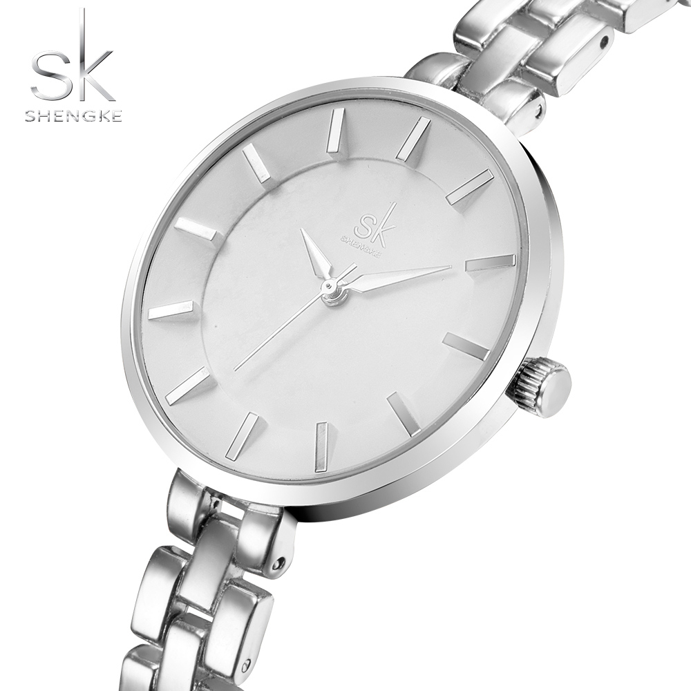 Original SK Women Watches Ultra Thin Stainless Steel Quartz Watch Bracelet Silver Wrist Watch Women Montre Femme Clock Female longbo ultra thin stainless steel quartz wrist watch for men silver
