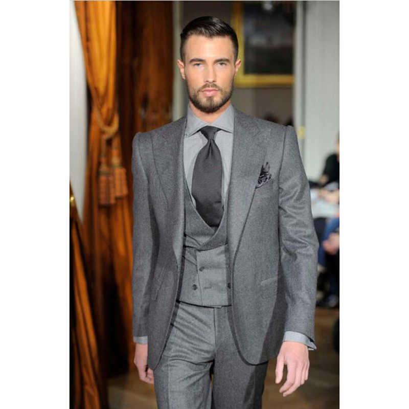 eb20cb7df1fba Latest Coat Pant Designs Grey Tweed Men Suit Double Breasted Slim Fit 3  Piece Tuxedo Custom Groom Blazer Suits Terno Masculino