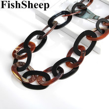FishSheep Fashion 2019 Big Long Chain Acrylic Necklace For Women Round Resin Link Chain Pendants & Necklaces Statement Jewelry olsen twins dropshipping long acrylic resin oval link chain necklaces for women winter sweater jewelry