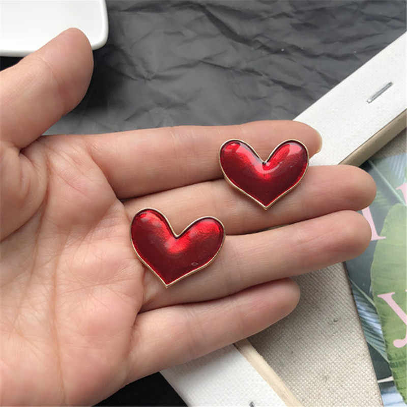 Fashion woman earrings Heart Vintage girl temperament transparent glaze girl heart stud earrings for women Earrings wholesale