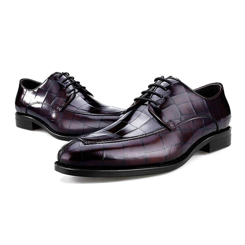 En Chaussures Appartements Designer Derby Robe Véritable Rond Hommes Parti Formelle Mâle Vache Noir Marque Homme Mariage Bql51 marron Bout De Cuir Luxe 0qCwIp