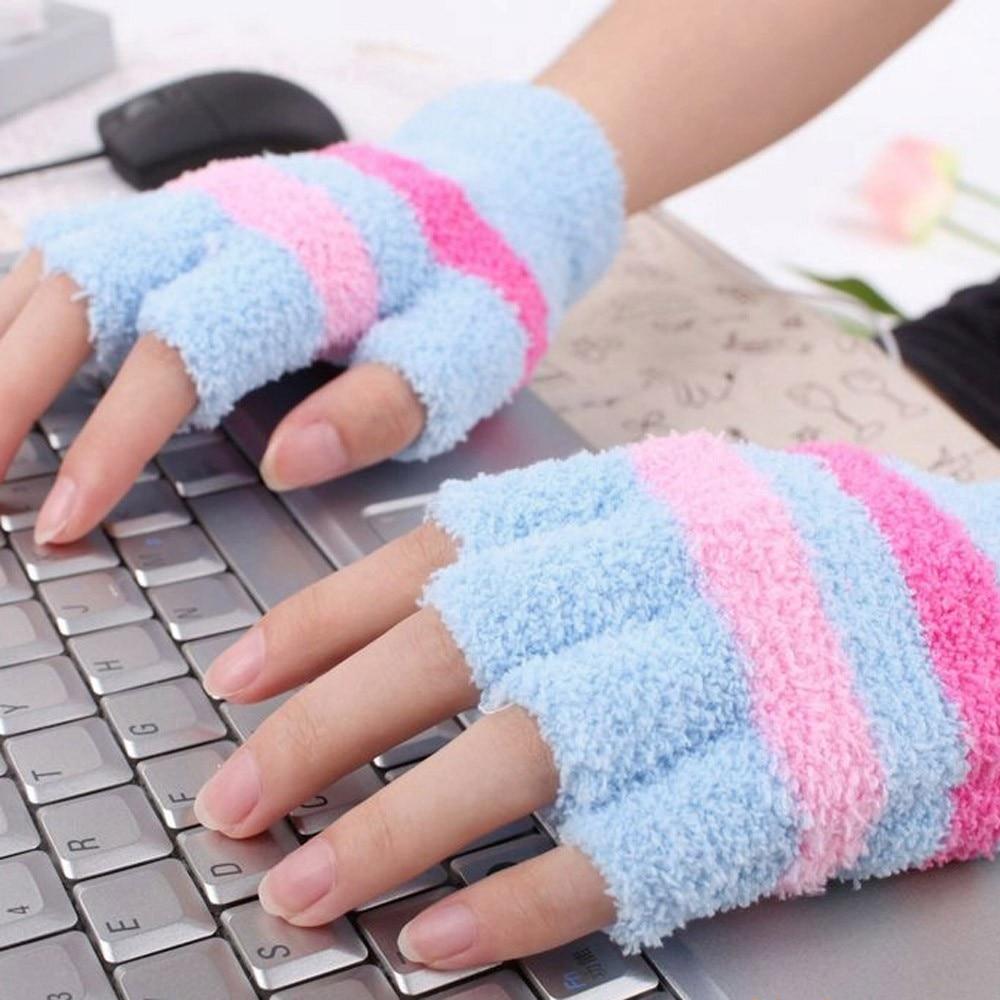 Heated motorcycle gloves new zealand - 2017 Winter Warm Wrist Arm Gloves Women Electric Usb Heatting Half Finger Glove Half Finger Heated