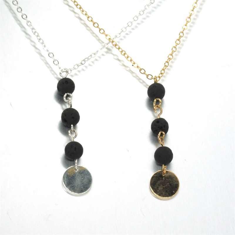 Mode Diy Essentiële Olie Parfum Diffuser Hanger Ketting Mini Zwarte Lava Kralen Charms Kraag Sieraden Voor Vrouwen Gift