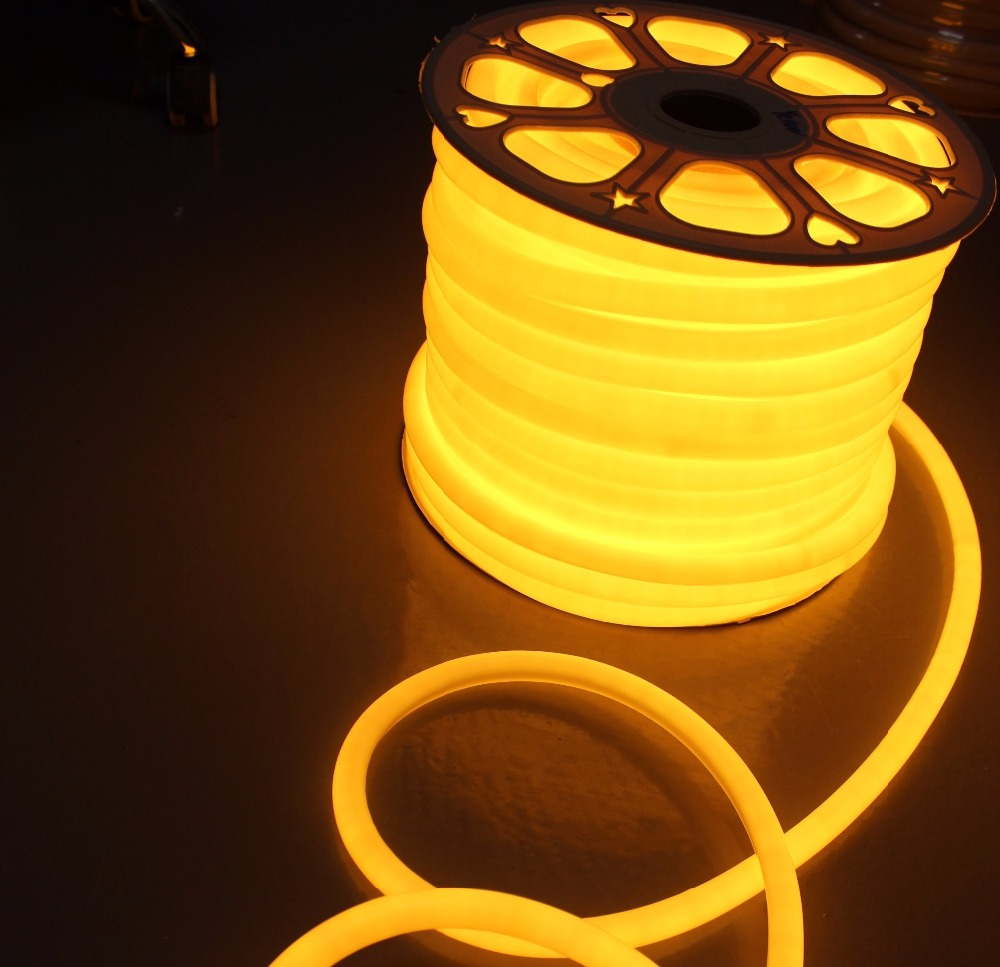 50m spool 230v 16mm small pvc 360 degree angle lighting led neon flex 2835SMD neon led round tube soft neon ribbon rope outdoor