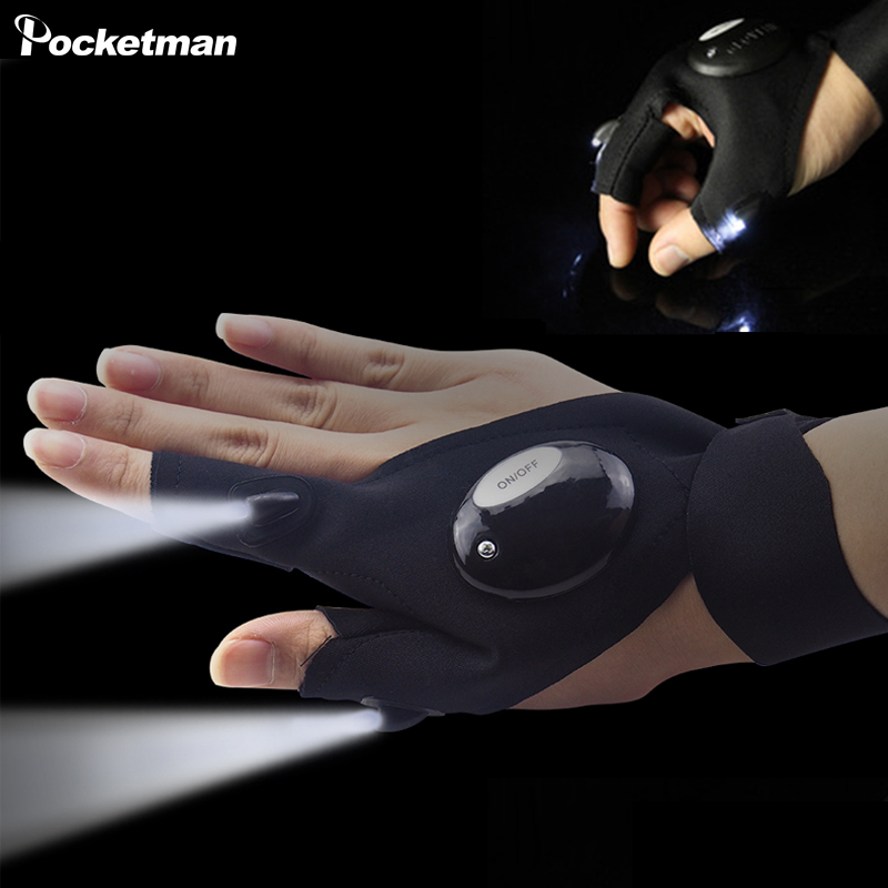 Outdoor Fishing Magic Strap Fingerless Glove LED Flashlight Torch Cover Black Camping To ...