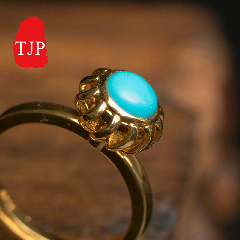 New Arrivals Natural jade A cargo round Turquoise ring genuine turquoise with jewelry free shipping faux turquoise cow engraved jewelry set