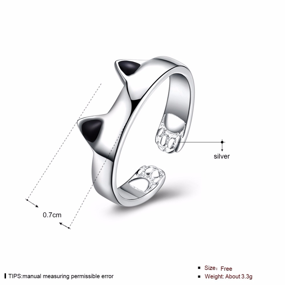 Standard sterling silver jewelry creative personality cute cat ear opening ring girl sweet romantic wind ring free of freight