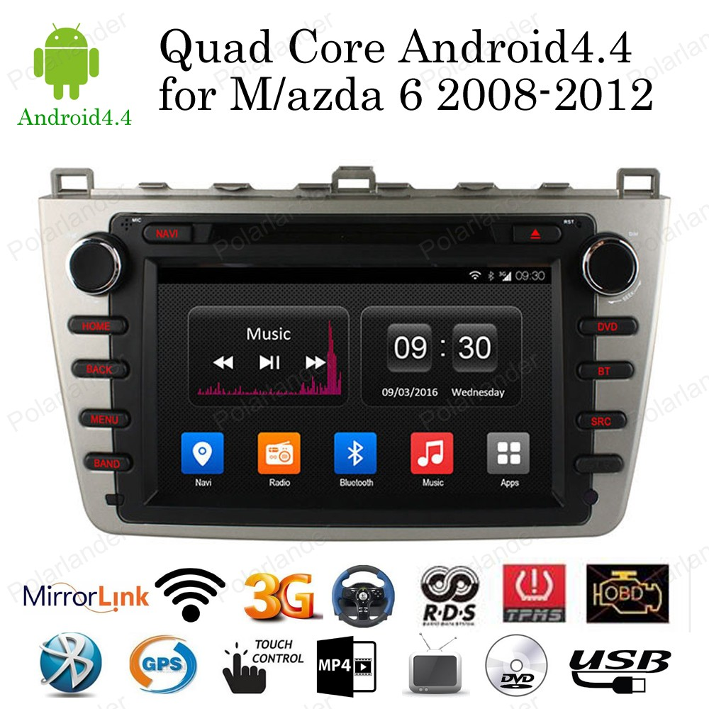 """Android 4.4 Quad Core 8"""" Car DVD Player for Mazda 6 2008"""