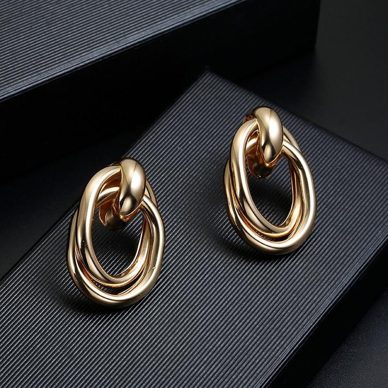 2019 New ZA Shiny Golden Clip Earrings No Pierced For Women Punk Geometric Vintage Maxi Ear Clips Wedding Party Bohemian Jewelry