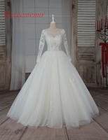 2017 Hot Sale High Quality Lace Sexy Transparent Top Wedding Dress Bridal Gown Floor Length Wedding