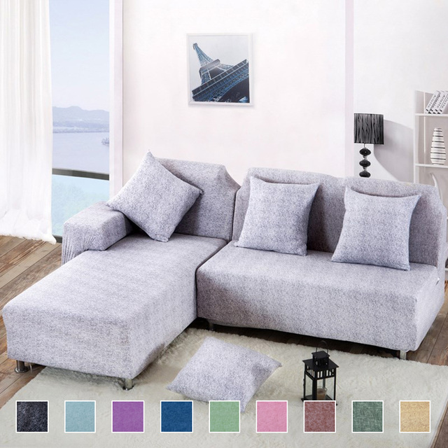 2 pieces Covers for L Shaped Sofa Living Room Corner Sofa Covers Sectional  Couch Slipcover Cross Pattern Stretch Elastic Spandex