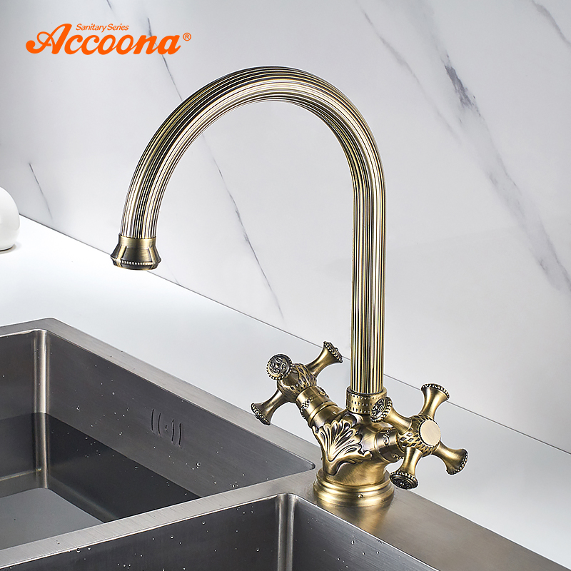 Accoona Antique Brass Kitchen Faucet Carved Pattern Body and Handle Kitchen Faucets Mixer Hot Cold Tap Antique Faucet A55108C цена 2017