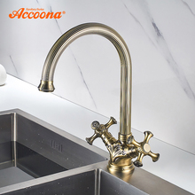 Brass Kitchen Accoona Antique Faucet Cold-Tap Body-And-Handle Hot A55108C Carved-Pattern