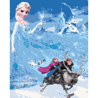 Digital Diy Oil Painting By Numbers Frozen Cartoon Picture Wall Decor On Canvas Oil Paint Coloring