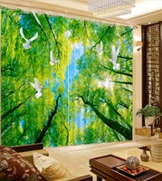 Home Decor Photo Window Curtains Modern Forest Green Beautiful Nature Landscape Curtain For Bedroom 3D Blackout