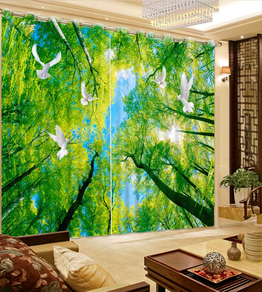 Foresthills Bedroom Large2: Home Decor Photo Window Curtains Modern Forest Green