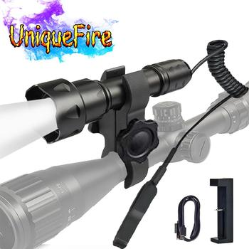 UniqueFire T20 940nm Infrared Zoom LED Flashlight Torch Set Night Vision with USB Charger, Rat Tail, Scope Mount For Hunting